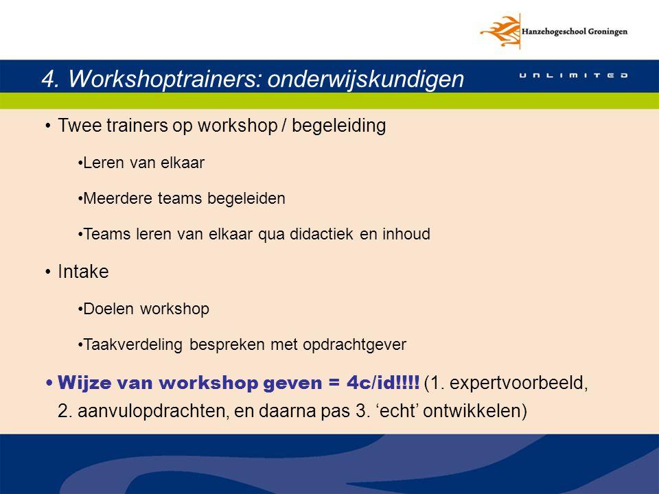 4. Workshoptrainers: onderwijskundigen