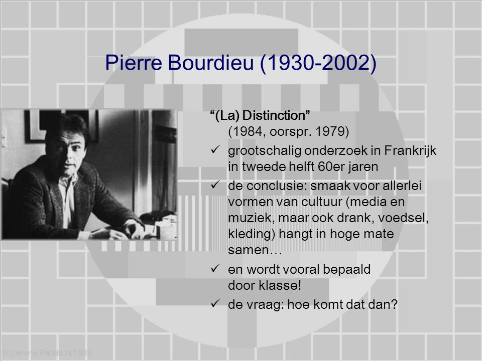 Pierre Bourdieu (1930-2002) (La) Distinction (1984, oorspr. 1979)