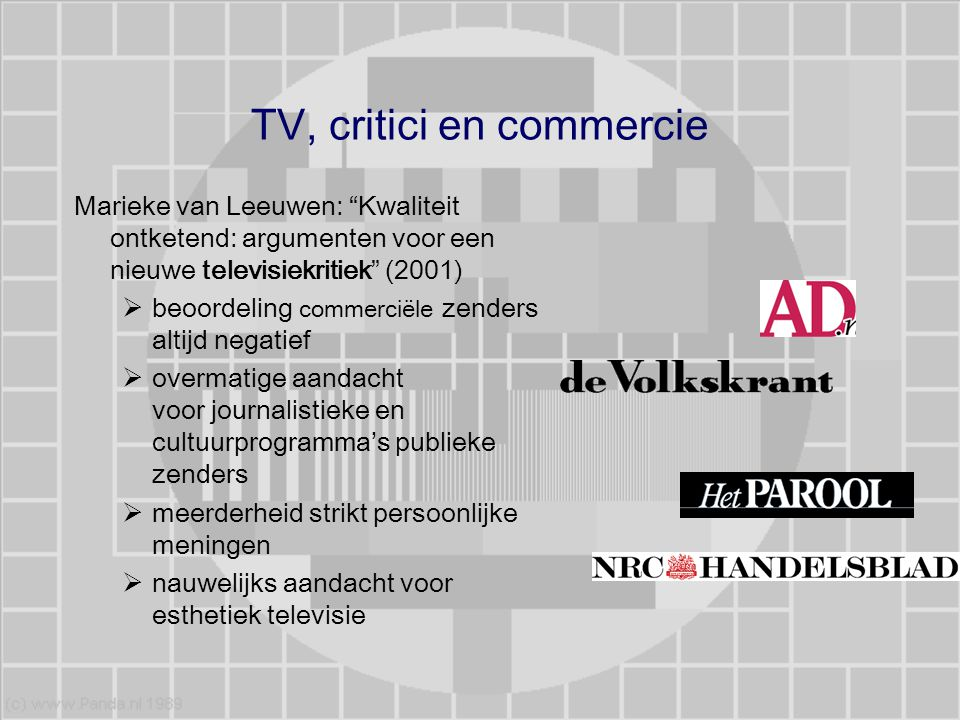 TV, critici en commercie