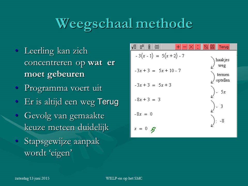 Weegschaal methode Leerling kan zich concentreren op wat er moet gebeuren. Programma voert uit. Er is altijd een weg Terug.