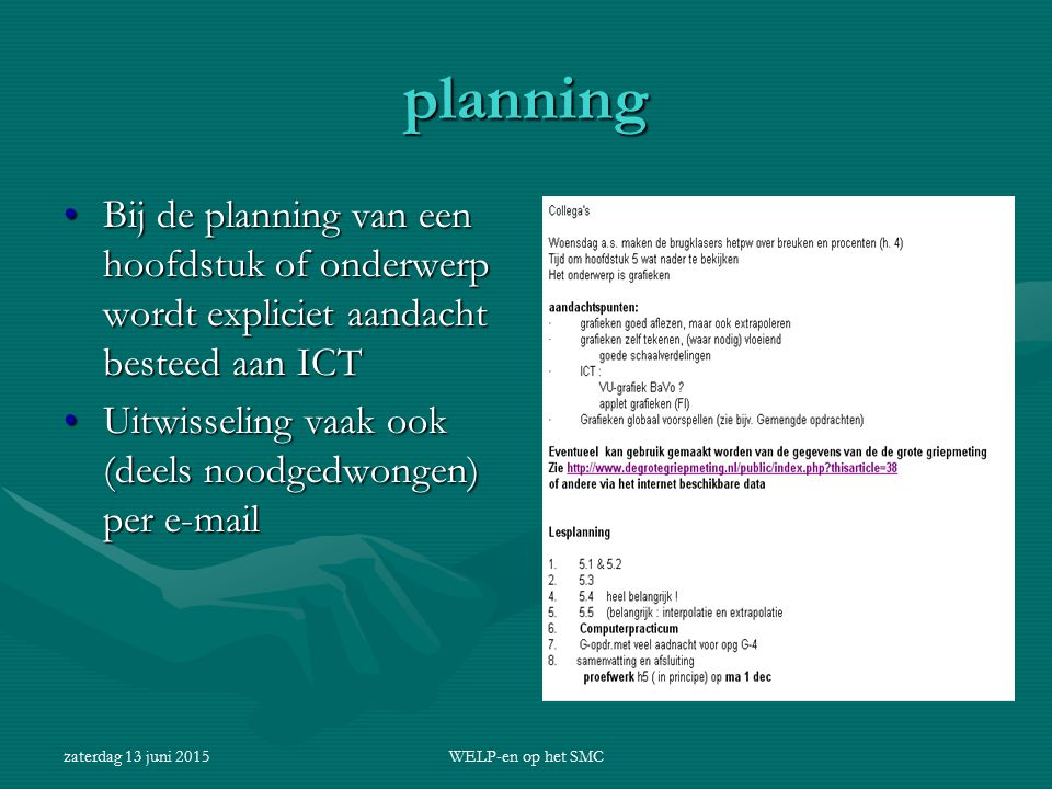 planning Bij de planning van een hoofdstuk of onderwerp wordt expliciet aandacht besteed aan ICT.