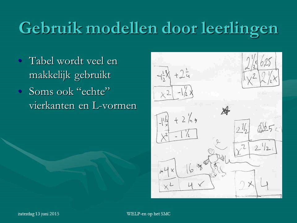 Gebruik modellen door leerlingen