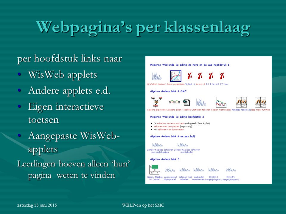Webpagina's per klassenlaag