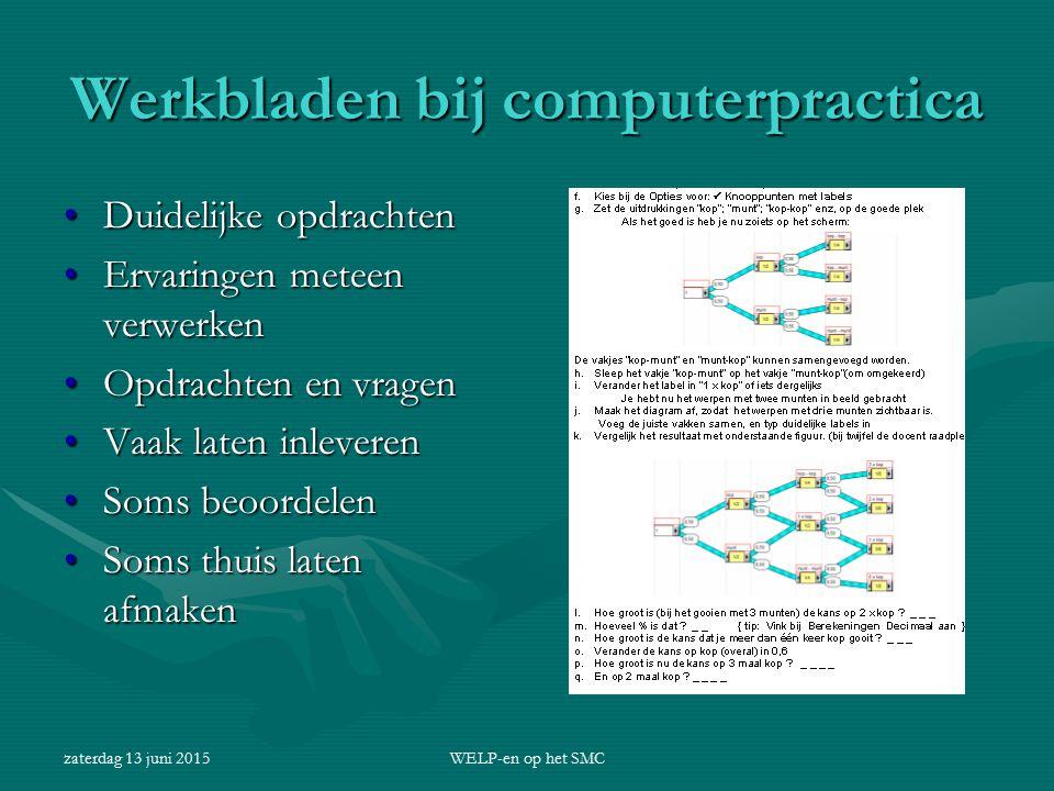 Werkbladen bij computerpractica