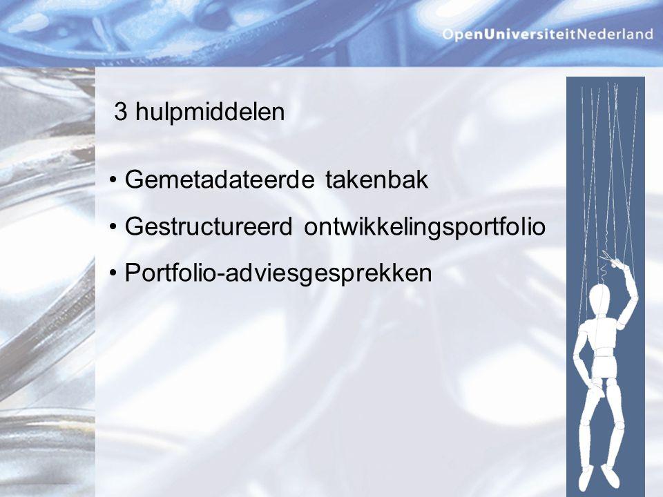 3 hulpmiddelen Gemetadateerde takenbak. Gestructureerd ontwikkelingsportfolio.