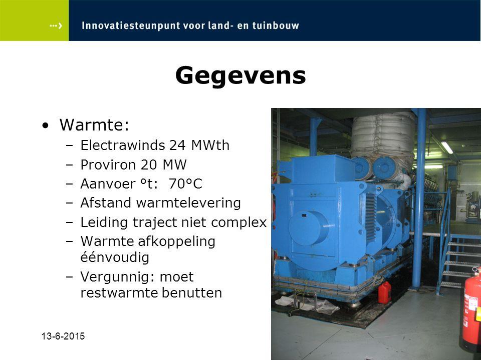 Gegevens Warmte: Electrawinds 24 MWth Proviron 20 MW Aanvoer °t: 70°C