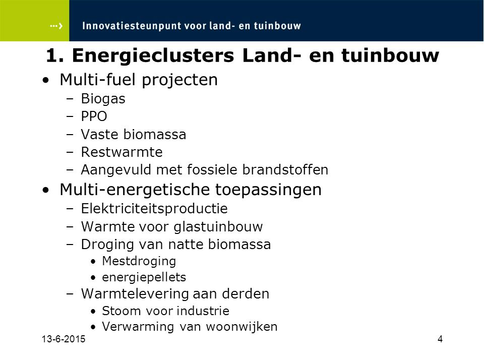 1. Energieclusters Land- en tuinbouw