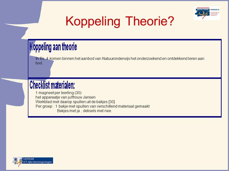 Koppeling Theorie In Bs. 4 komen binnen het aanbod van Natuuronderwijs het onderzoekend en ontdekkend leren aan bod.