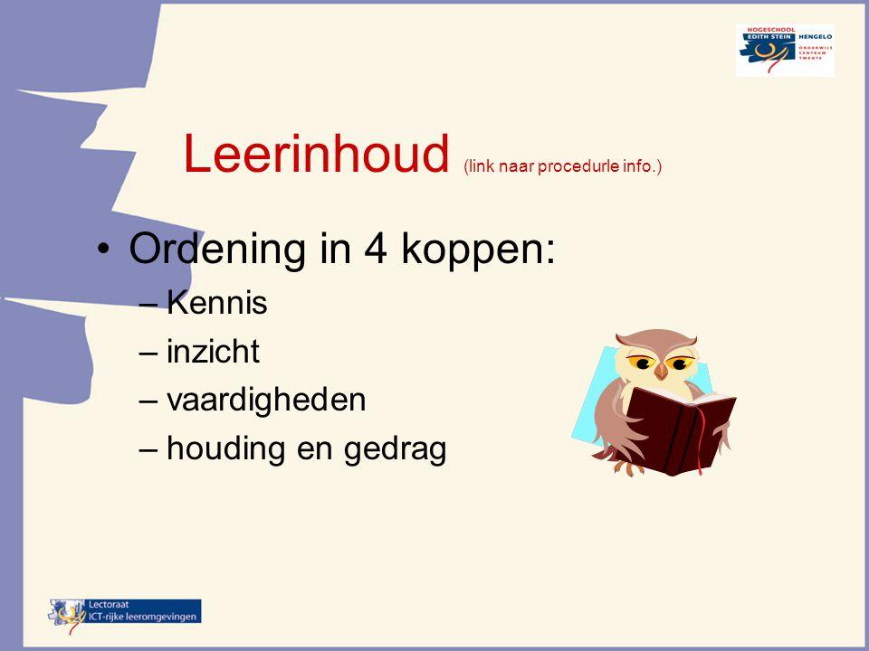 Leerinhoud (link naar procedurle info.)