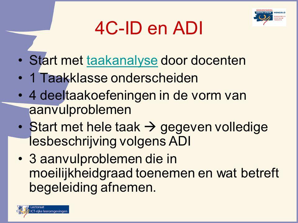 4C-ID en ADI Start met taakanalyse door docenten