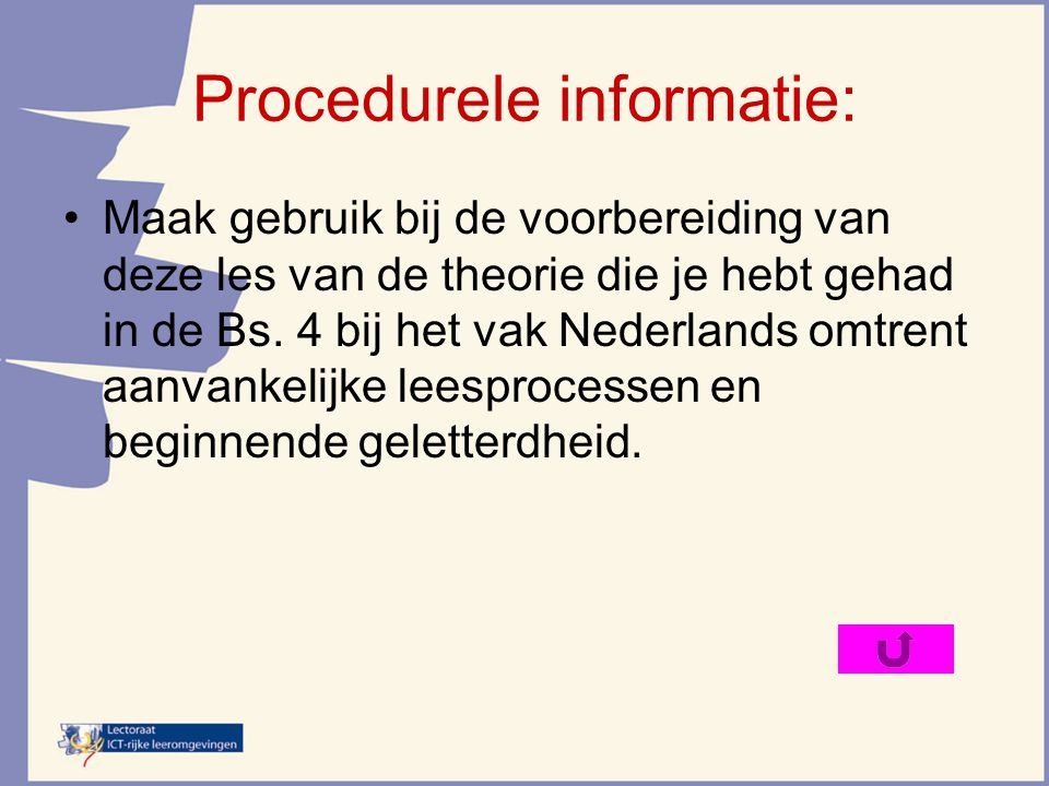 Procedurele informatie: