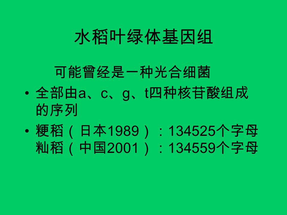 水稻叶绿体基因组 可能曾经是一种光合细菌 全部由a、c、g、t四种核苷酸组成的序列