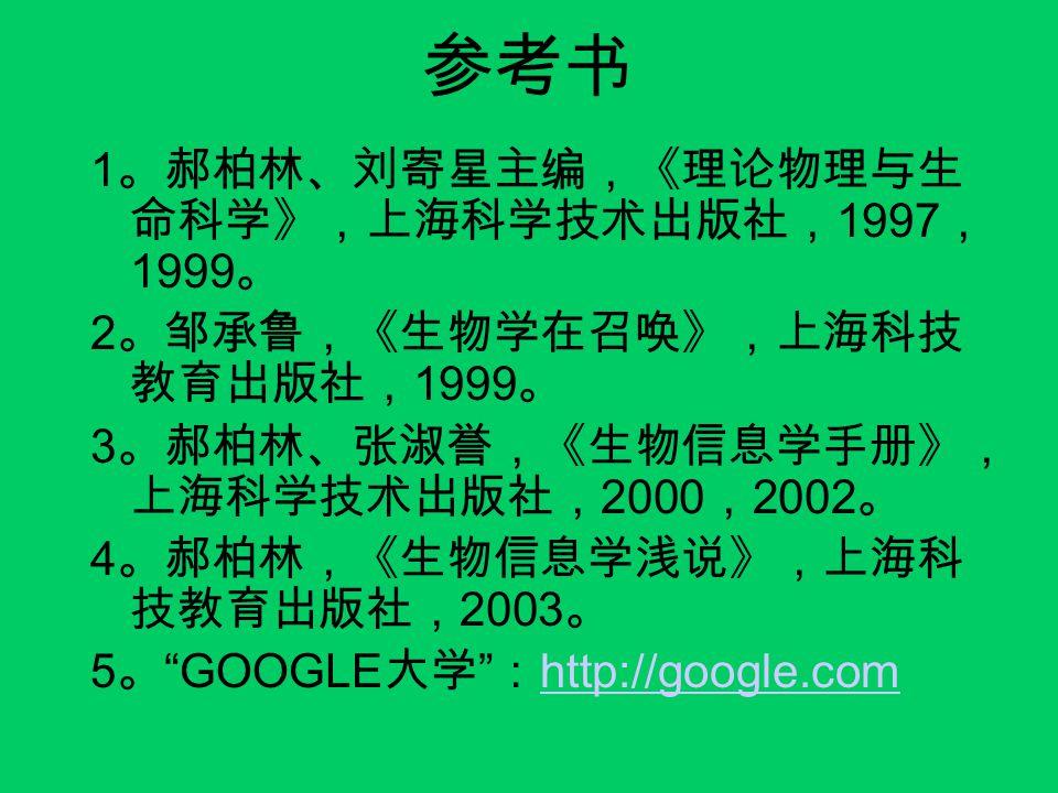 参考书 1。郝柏林、刘寄星主编,《理论物理与生命科学》,上海科学技术出版社,1997,1999。