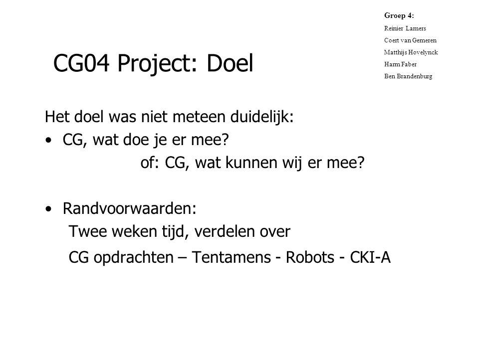 CG04 Project: Doel Het doel was niet meteen duidelijk: