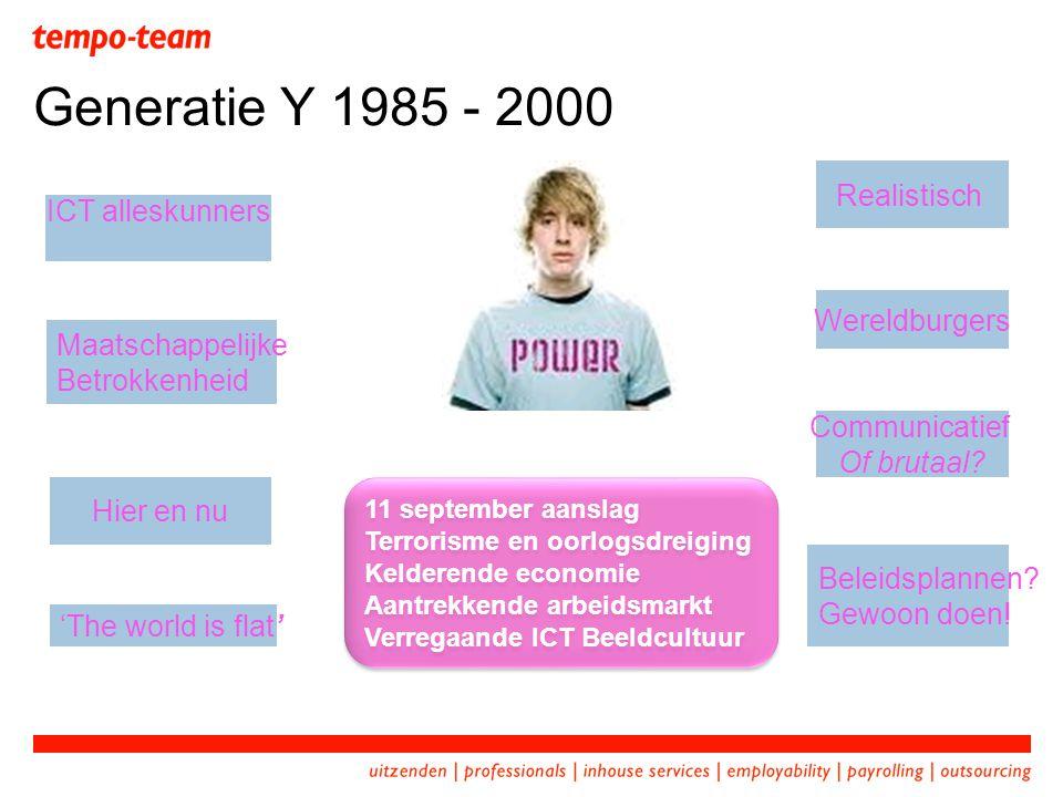 Generatie Y 1985 - 2000 Realistisch ICT alleskunners Wereldburgers