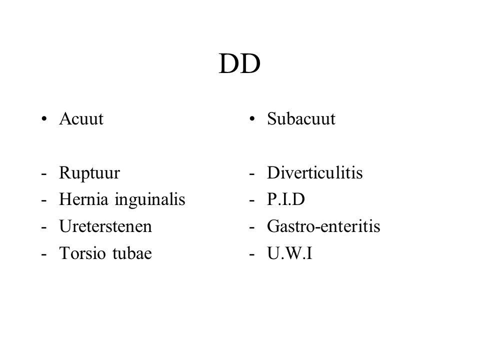 DD Acuut Ruptuur - Hernia inguinalis Ureterstenen Torsio tubae