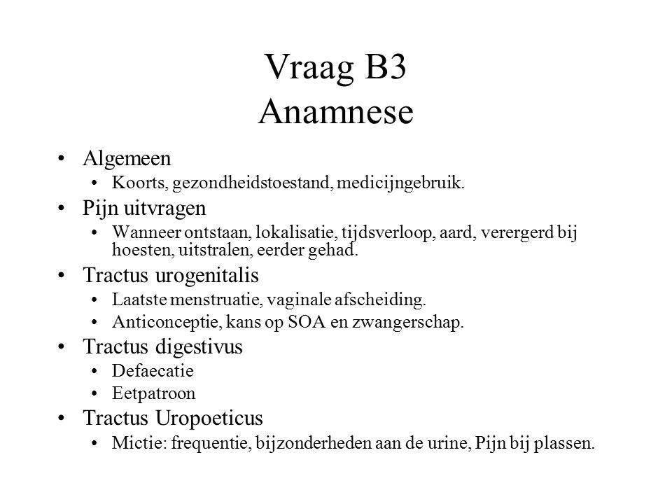 Vraag B3 Anamnese Algemeen Pijn uitvragen Tractus urogenitalis