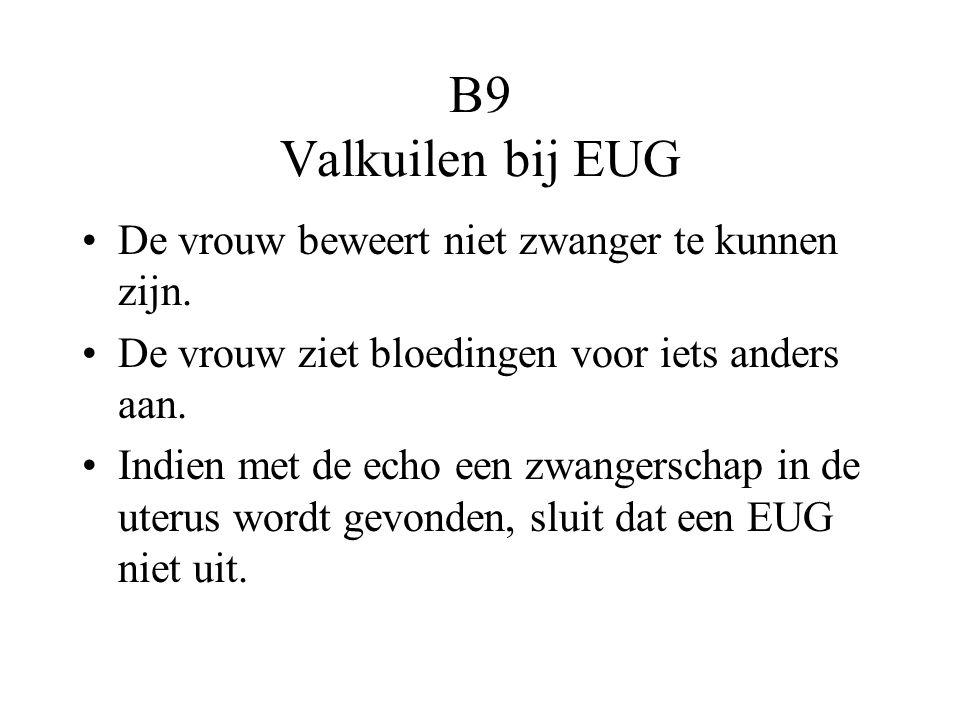 B9 Valkuilen bij EUG De vrouw beweert niet zwanger te kunnen zijn.