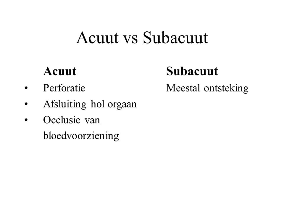 Acuut vs Subacuut Acuut Subacuut Perforatie Meestal ontsteking