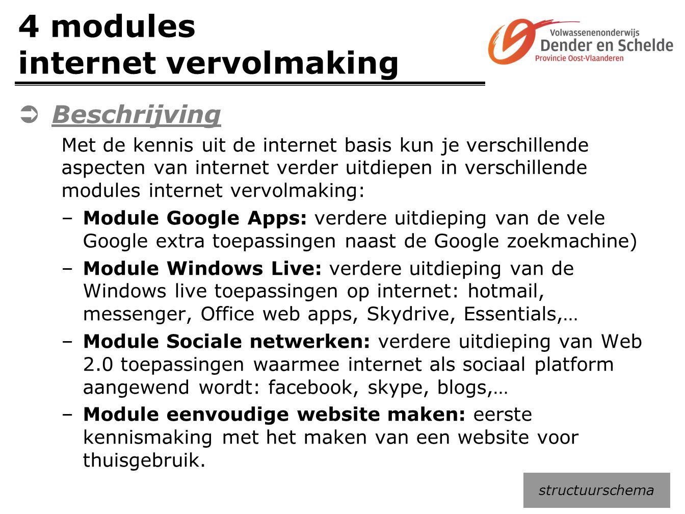 4 modules internet vervolmaking
