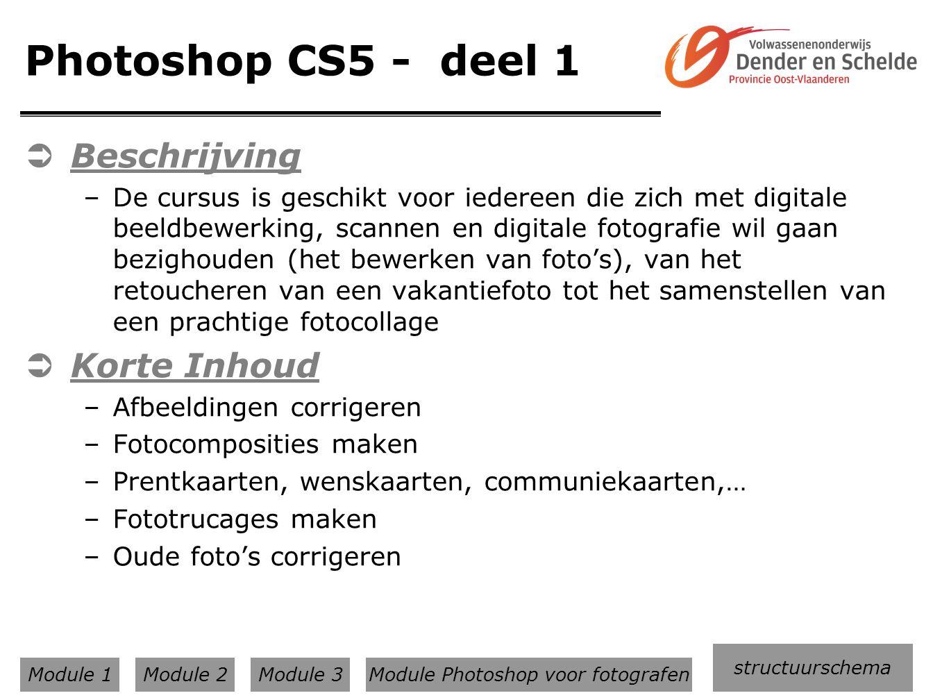 Module Photoshop voor fotografen
