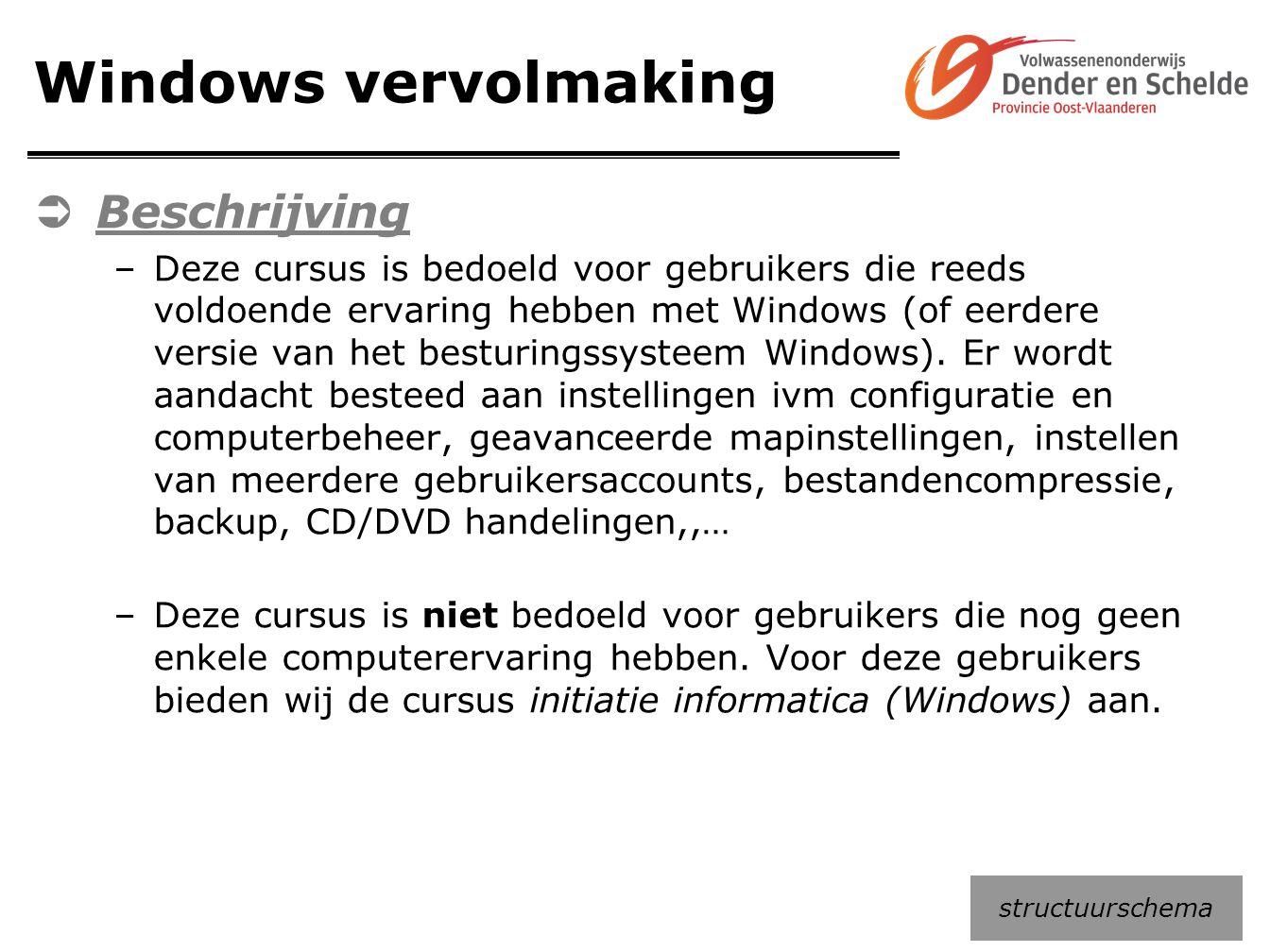 Windows vervolmaking Beschrijving