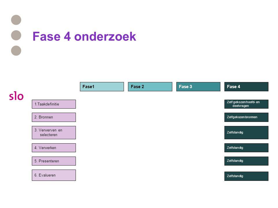 Fase 4 onderzoek Fase1 Fase 2 Fase 3 Fase 4 1.Taakdefinitie 2. Bronnen