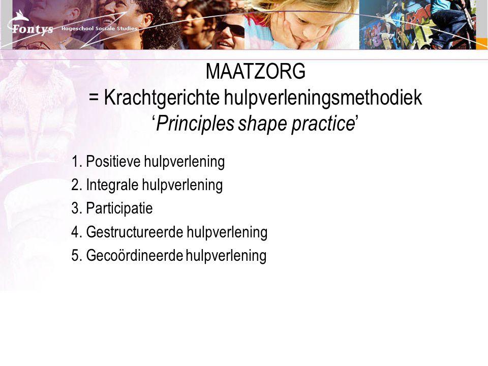 MAATZORG = Krachtgerichte hulpverleningsmethodiek 'Principles shape practice'