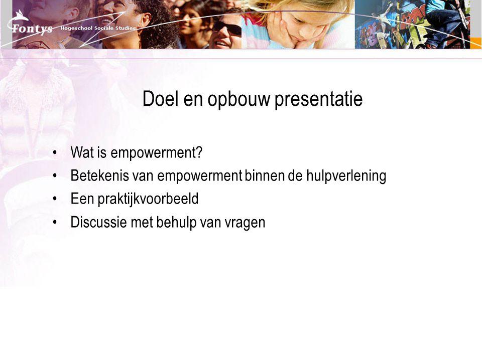 Doel en opbouw presentatie