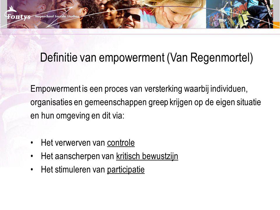 Definitie van empowerment (Van Regenmortel)