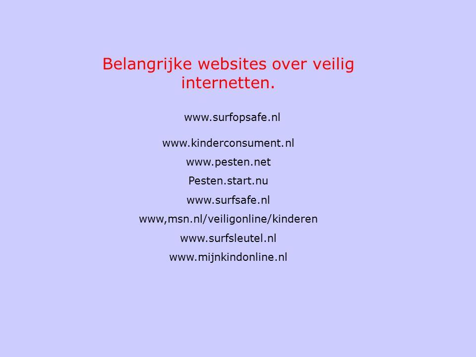 Belangrijke websites over veilig internetten.