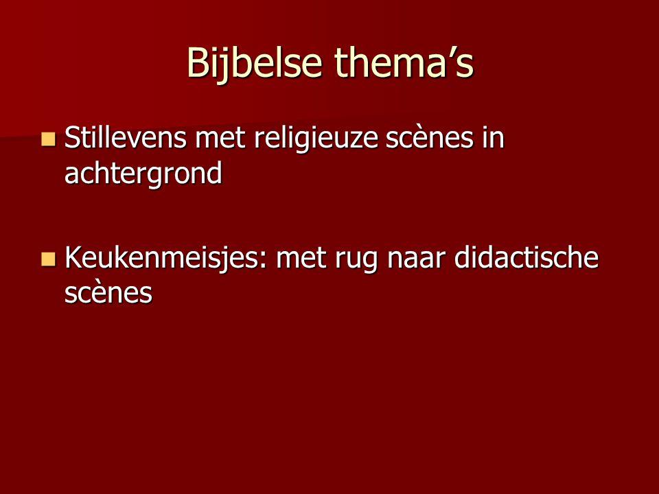Bijbelse thema's Stillevens met religieuze scènes in achtergrond