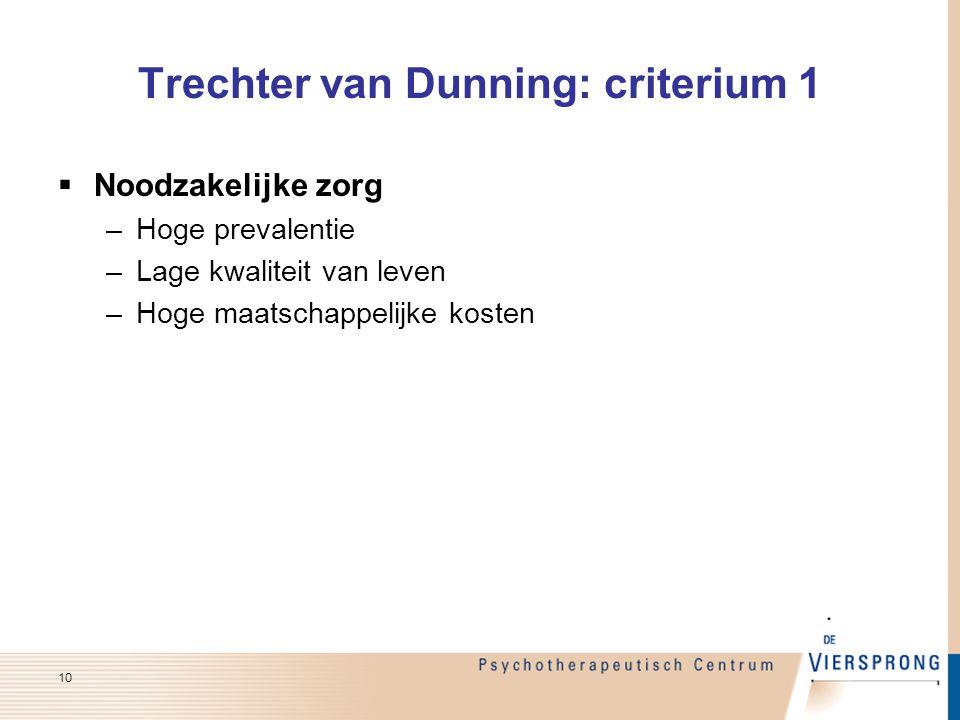 Trechter van Dunning: criterium 1