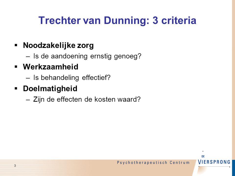 Trechter van Dunning: 3 criteria