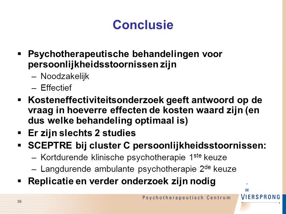 Conclusie Psychotherapeutische behandelingen voor persoonlijkheidsstoornissen zijn. Noodzakelijk. Effectief.