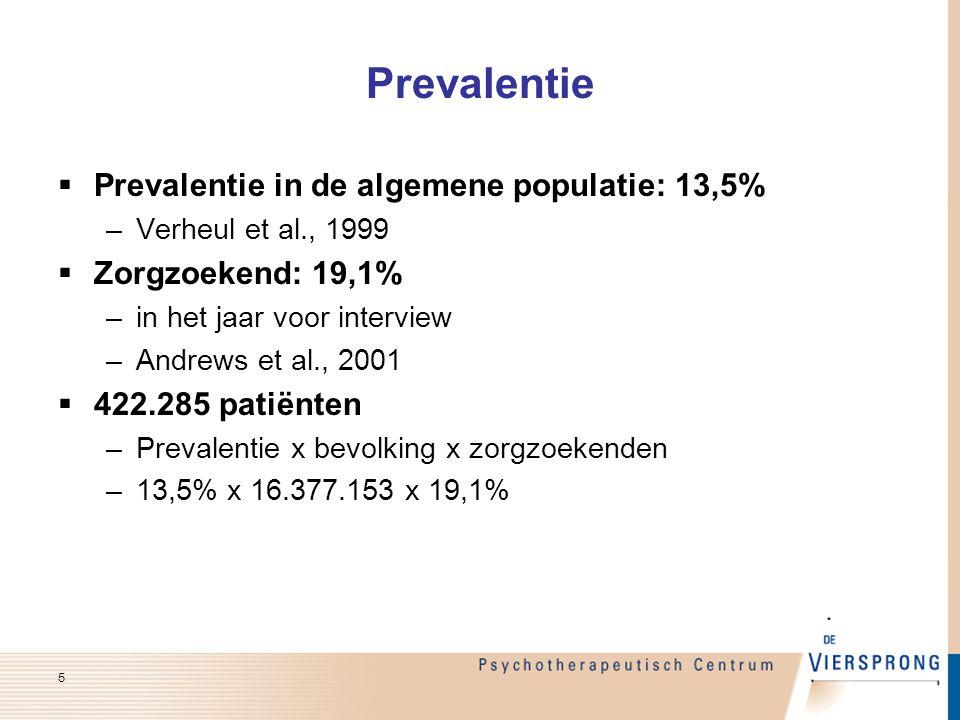 Prevalentie Prevalentie in de algemene populatie: 13,5%