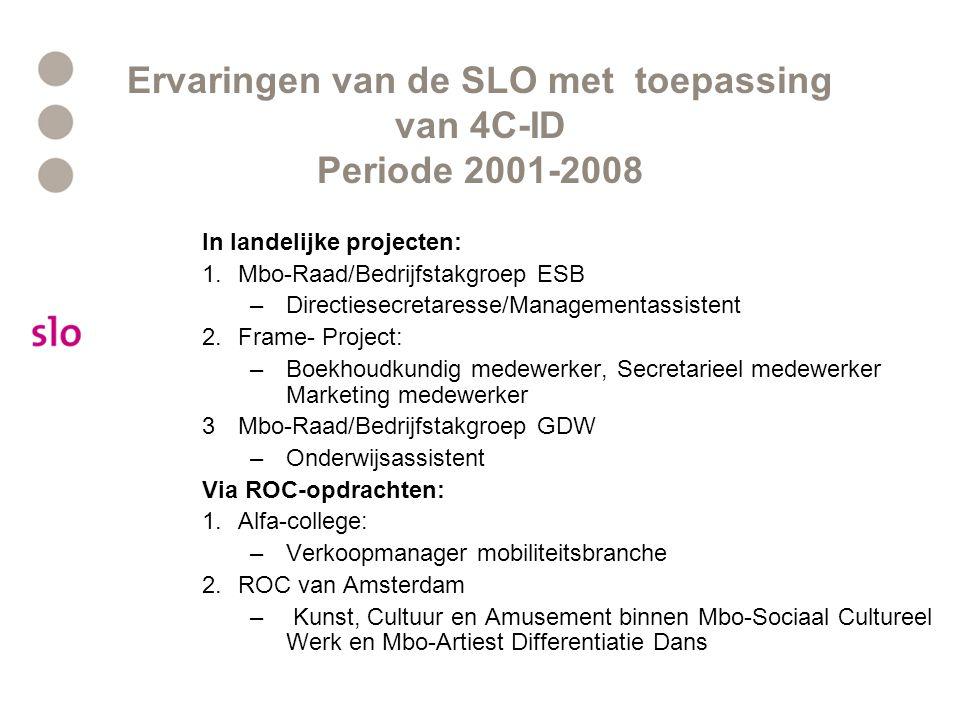 Ervaringen van de SLO met toepassing van 4C-ID Periode 2001-2008