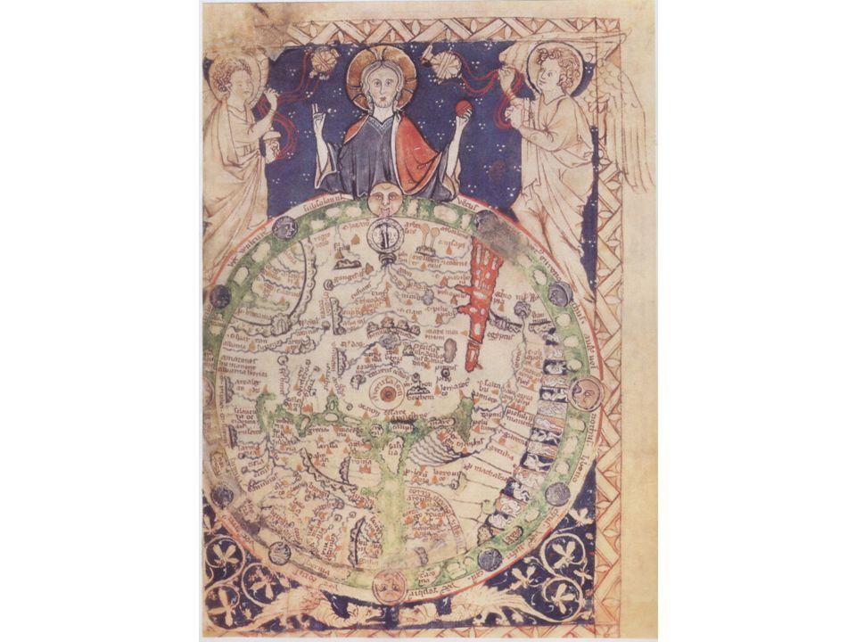 In een Psalmboek, geillustreerde heilsgeschiedenis: Jeruzalem in het Midden; Aards paradijs in het Oosten.