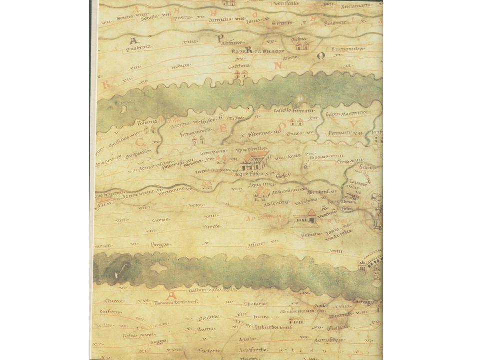 Detail uit een middeleeuwse kopie van een Romeinse landkaart (Peutingerkaart), hierop staat plaatsen aangegeven die men onderweg tegen zou komen.