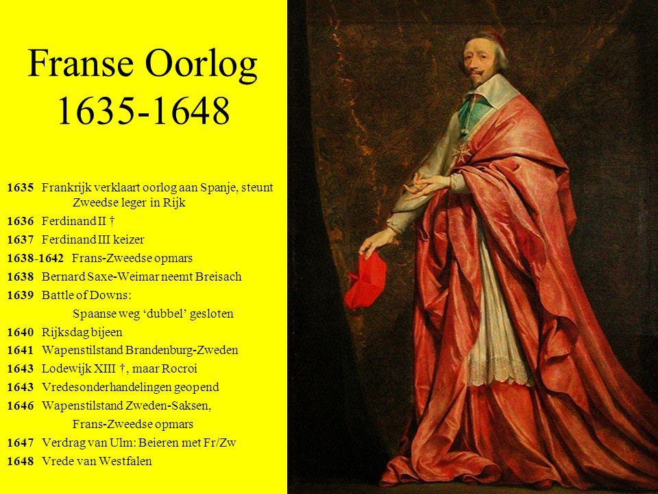 Franse Oorlog 1635-1648 1635 Frankrijk verklaart oorlog aan Spanje, steunt Zweedse leger in Rijk.