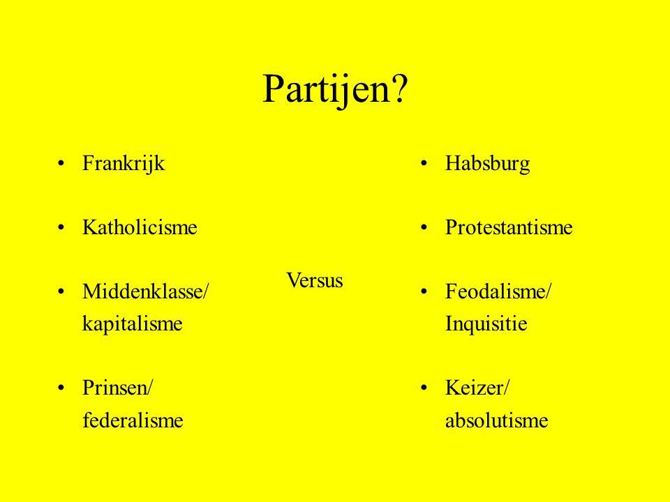 Partijen Frankrijk Katholicisme Middenklasse/ kapitalisme Prinsen/