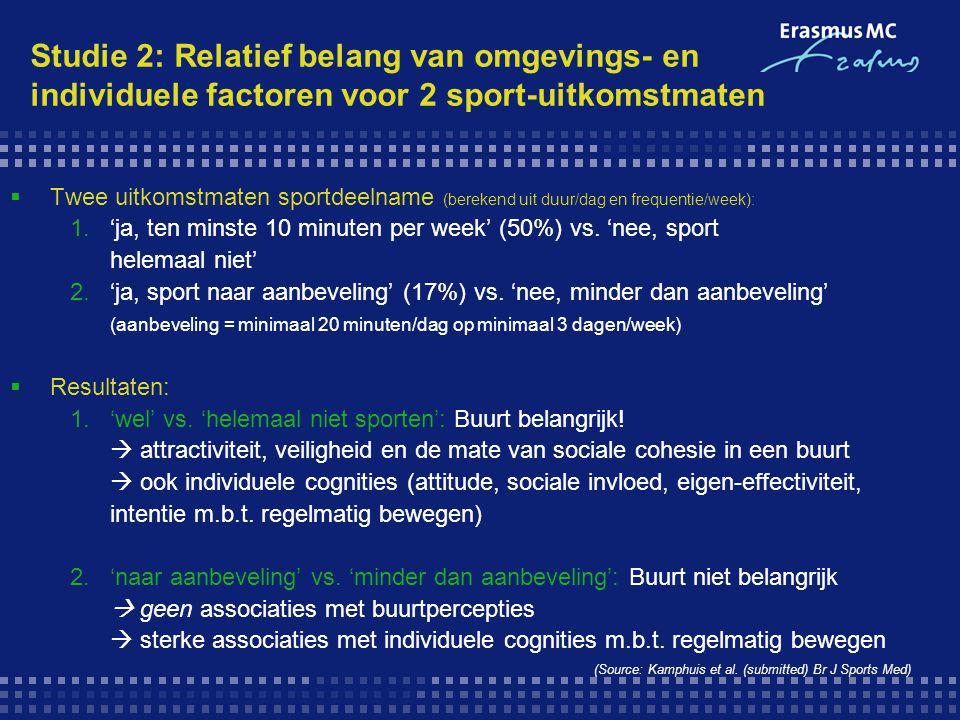 Studie 2: Relatief belang van omgevings- en individuele factoren voor 2 sport-uitkomstmaten