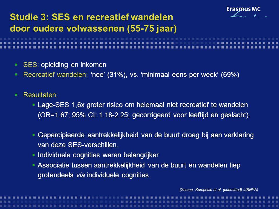 Studie 3: SES en recreatief wandelen door oudere volwassenen (55-75 jaar)