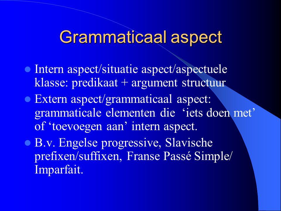 Grammaticaal aspect Intern aspect/situatie aspect/aspectuele klasse: predikaat + argument structuur.