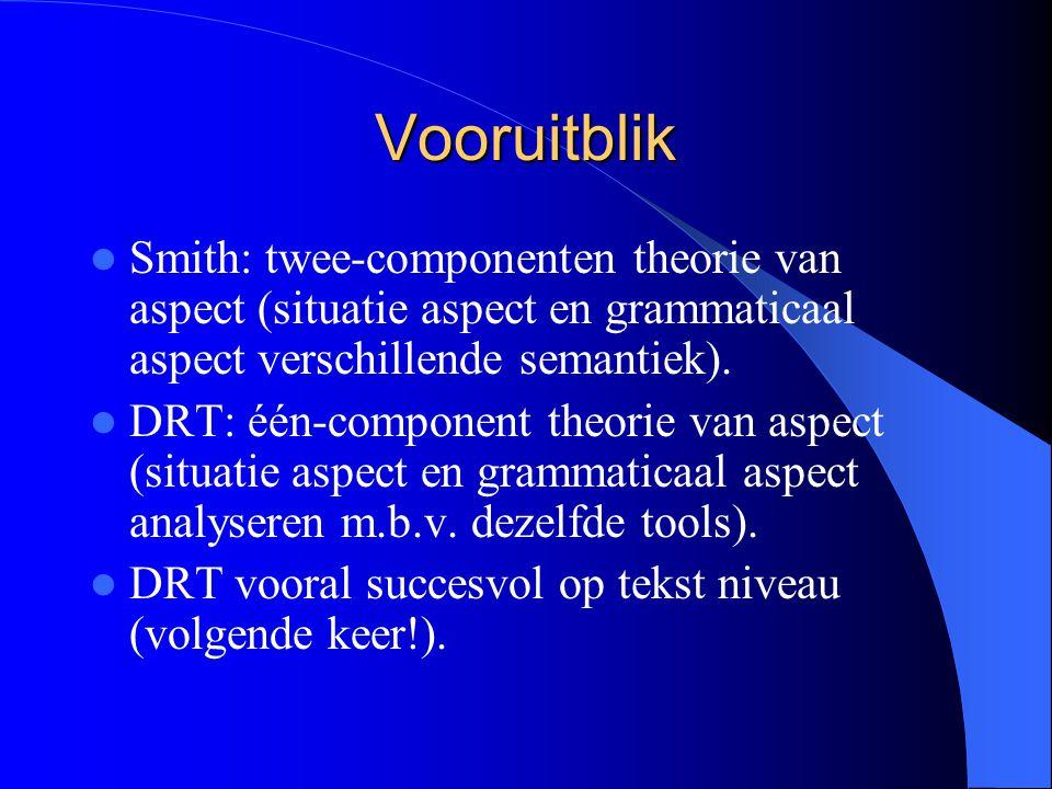Vooruitblik Smith: twee-componenten theorie van aspect (situatie aspect en grammaticaal aspect verschillende semantiek).