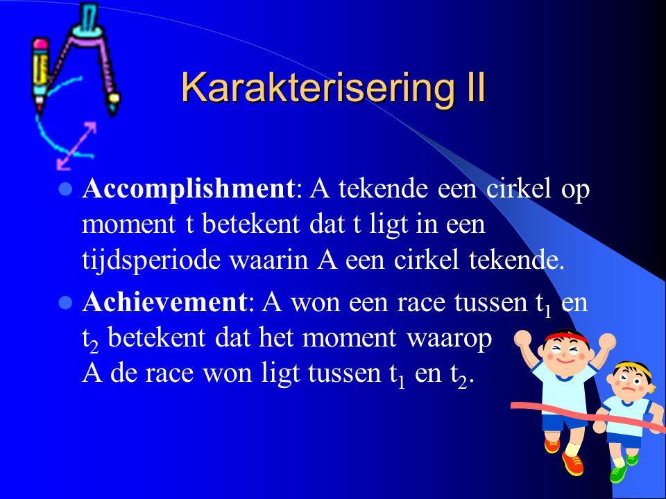 Karakterisering II Accomplishment: A tekende een cirkel op moment t betekent dat t ligt in een tijdsperiode waarin A een cirkel tekende.