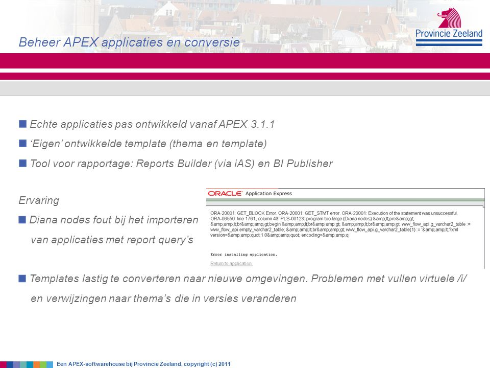 Beheer APEX applicaties en conversie