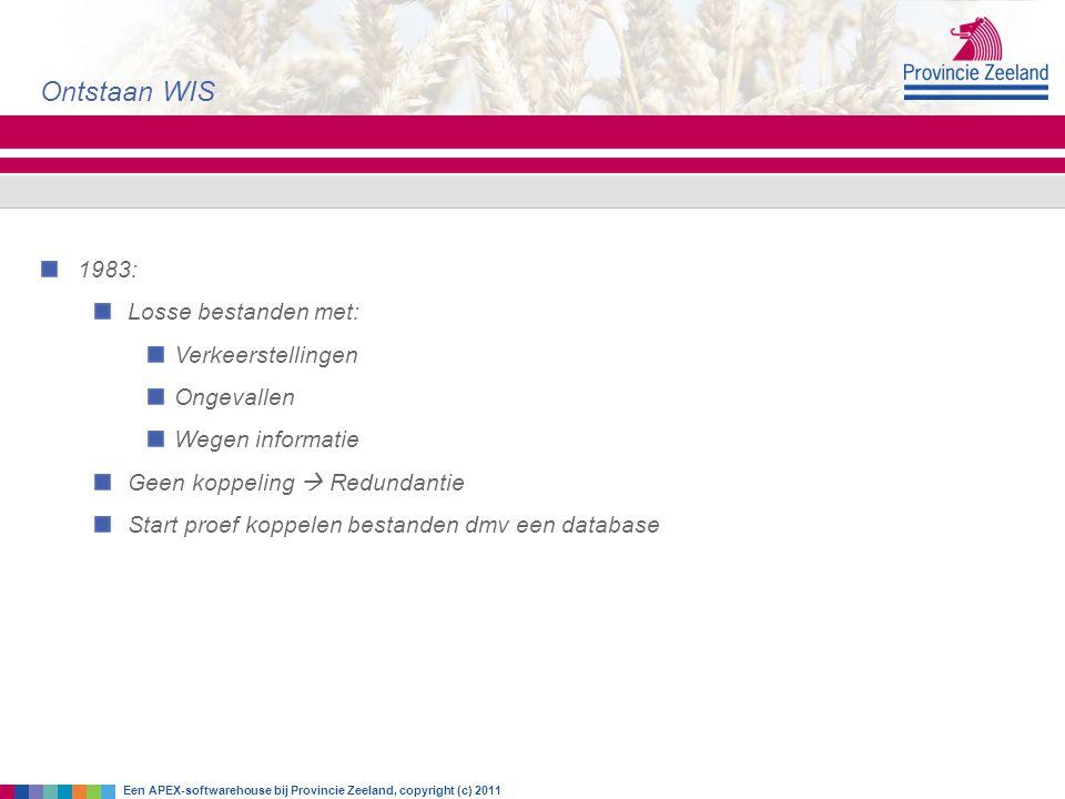 Ontstaan WIS 1983: Losse bestanden met: Verkeerstellingen Ongevallen