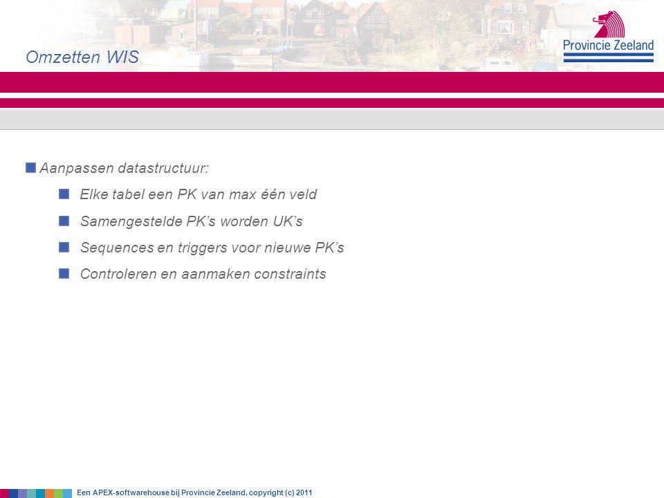 Omzetten WIS Aanpassen datastructuur: