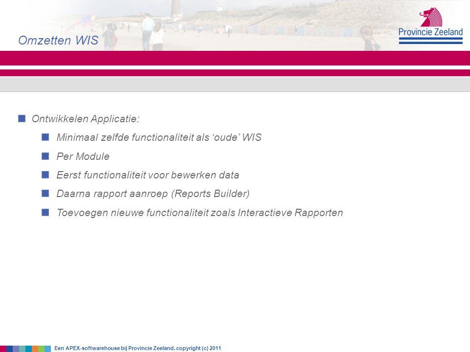 Omzetten WIS Ontwikkelen Applicatie: